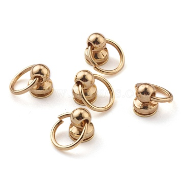 Alloy Ball Studs Rivets, for DIY Leather Craft, Handbag, Purse Accessories, with Philip's Head Screw and Jump Rings, Light Gold, 19mm, Hole: 10mm; Ring: 13x1.5mm, Screw: 3x5x8mm(PALLOY-Z002-02A-LG)