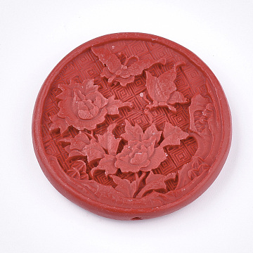 Cinnabar Beads, Carved Lacquerware, Flat Round with Flower, Red, 49x9mm, Hole: 1.8mm(CARL-T001-03)