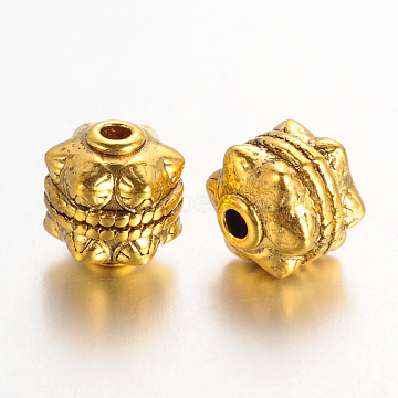 Tibetan Style Beads, Lead Free and Cadmium Free, Round, Antique Golden, 10x10mm, Hole: 2mm(X-GLF0749Y)