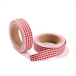 Grille scrapbbok bricolage rubans adhésifs d'art de tissu, cramoisi, 15 mm; environ 5 m/rouleau(DIY-A003-D07)