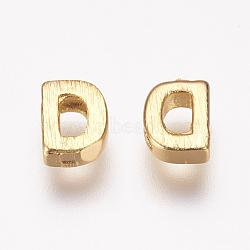 Breloques en laiton, véritable 18k plaqué or, letter.d, 6x4.5x2mm, Trou: 1mm(KK-P081-D)