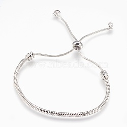 bracelets bolo réglables en laiton, bracelets de slider, avec des pendentifs en zircone cubique, sans plomb et sans cadmium et sans nickel, plaqué longue durée, platine, 1-1 / 2 / 2-7 8 cm ~ (3.8 cm); 7.4 mm(BJEW-P218-05P)
