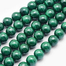Chapelets de perles en malachite naturelle, ronde, 6mm, trou: 1mm; environ 63 pcs/chapelet, 15.7 pouces (40 cm)
