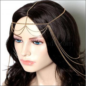 Bohemian Women Tassel Head Chain, Headpiece, with Iron, Forehead Dance Headbands Hair Wedding Jewelry, Golden, 540mm(X-OHAR-WH0002-03G)