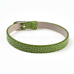 PU Leather Watch Band Strap, Watch Belt, Fit Slide Charms, with Iron Clasps, Platinum, Olive Drab, 8-3/4 inches(22.3cm); 7.5x1.5mm(BJEW-E350-11C)