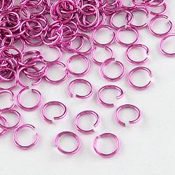 fil d'aluminium Anneaux ouvert, camélia, Jauge 20, 6x0.8 mm, diamètre intérieur: 5 mm; environ 430 pcs / 10 g(X-ALUM-R005-0.8x6-20)