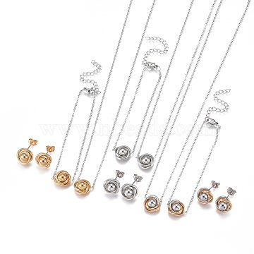 304 Stainless Steel Jewelry Sets, Bracelets, Necklaces and Earrings, Flower, Mixed Color, 17.9 inches(45.7cm); 1mm; 6-5/8 inches(16.7cm); 1mm; 11.5x6.5mm; Pin: 0.9mm(SJEW-F204-21P)