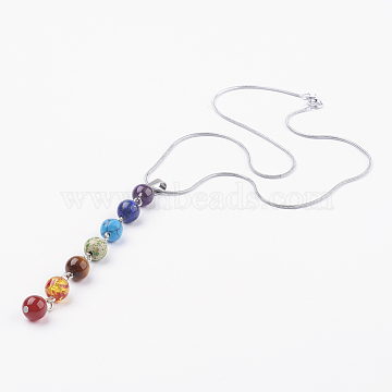 Chakra Jewelry, 304 Stainless Steel Pendant Necklaces, with Mixed Stone Pendant and Spring Ring Clasps, 16.6 inches(42.4cm)(X-NJEW-JN02080)