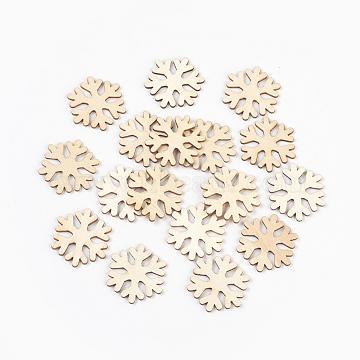 Wood Cabochons, Laser Cut Wood Shapes, Snowflake, BurlyWood, 26x29.5x1.5mm(WOOD-L007-08)