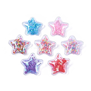 Plastic Alligator Hair Clips, with Paillette & Platinum Plated Iron Base, Star, Mixed Color, 47~48x49~50x14~15mm(PHAR-L005-C)