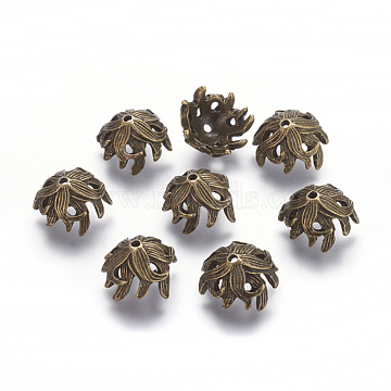 Tibetan Style Bead Caps, Lead Free and Nickel Free, Flower, Antique Bronze, 10x15x15mm, Hole: 2mm(X-TIBE-A23247-AB-FF)