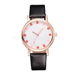 Dot or alliage ton cuir pu montres-bracelets électroniques, noir, 240x17 mm; tête de montre: 45x37x9.5 mm(X-WACH-F019-03D)