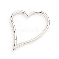 304 Stainless Steel Spring Gate Rings, Heart, Stainless Steel Color, 39.5x32.5x3mm; Inner Diameter: 32x27.5mm(STAS-I133-12P)