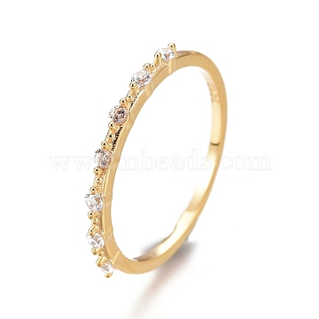 925 Sterling Silver Finger Rings, with Clear Cubic Zirconia, Carved with S925, Real 18K Gold Plated, US Size 7 1/4(17.5mm)(RJEW-AA00434-09G-18mm)