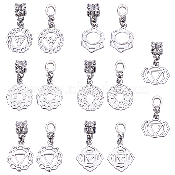 SUNNYCLUE Alloy European Dangle Beads, Large Hole Pendants, Chakra, Mixed Shapes, Platinum, 7.4x7.2x1.7cm, 14pcs/box(PALLOY-SC0002-12P)