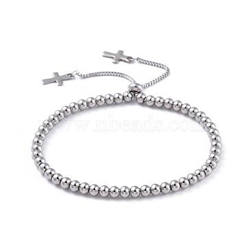 bracelets coulissants réglables en acier inoxydable 304, bracelets bolo, traverser, couleur inox, 9-1 / 8 (23.2 cm)(BJEW-JB04544)