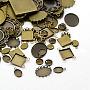 Antique Bronze Mixed Shapes Brass Cabochon Settings(X-KK-MSMC015-01AB-NF)