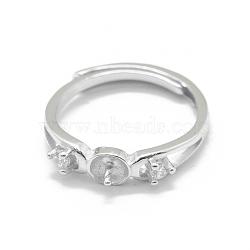 Composants de bague réglables en 925 argent sterling, pour la moitié de perles percées, avec zircons, clair, platine, taille 6, 16 mm; broches: 0.9 mm(STER-L055-023P)