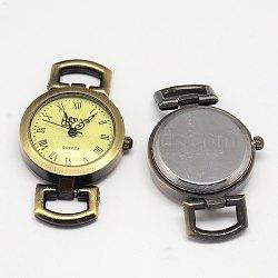 Bronze antique vintage montre roman alliage de visage rond et plat montre de tête de montre asscessory, 48x28x9mm, Trou: 10x5mm(X-WACH-M004-01)