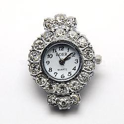 Alloy Rhinestone Watch Heads Flat Round Watch Faces, Platinum, 33x24x8mm, Hole: 1mm(X-WACH-D014-04)