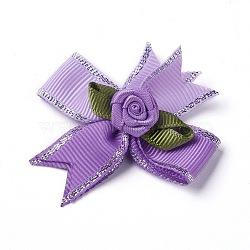 Broche en polyester, avec les accessoires en fer, bowknot avec des fleurs, pourpre, 50~53x47~48mm(JEWB-I011-04C)
