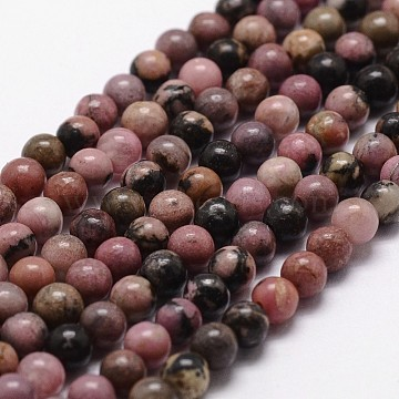 Natural Rhodonite Beads Strands, Round, 6mm, Hole: 1mm, about 61pcs/strand, 14.9 inches~15.1 inches(X-G-D840-59-6mm)