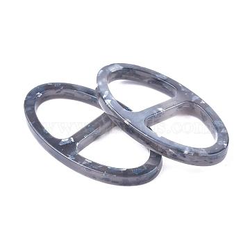 Acrylic Buckles, Oval, Gray, 31.5x17.6x3mm, Hole: 12.5x12mm(KY-L080-026)