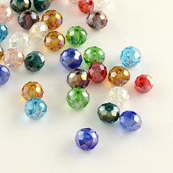 Rondelle граненый гальваническим покрытием с прозрачными стеклянными шариками, разноцветные, 6x4 мм, отверстие : 1 мм
