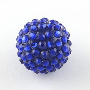 14mm Blue Round Resin+Rhinestone Beads