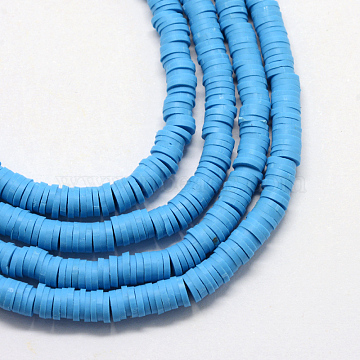 Eco-Friendly Handmade Polymer Clay Beads, Disc/Flat Round, Heishi Beads, Dodger Blue, 4x1mm, Hole: 1mm, about 380~400pcs/strand, 17.7 inches(X-CLAY-R067-4.0mm-33)