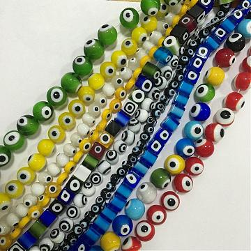 Evil Eye Lampwork Beads Strand, Mixed Shapes, Mixed Color, 5~12x7~11mm, Hole: 0.2mm; 14.17~15.15 inches(GLAA-F050-01)
