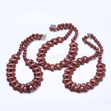 Synthetic Goldstone Beaded Necklaces(NJEW-G920-05)-4