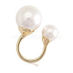 bagues de manchette en laiton plaqué or véritable 18 k, avec perle, taille 4, blanc, 15.25 mm(RJEW-EE0001-042A-02)