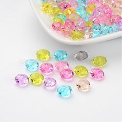 Perles en rondelles facettées en acrylique transparent, couleur mixte, environ 8 mm de diamètre, épaisseur de 5mm, Trou: 1.5mm(X-PL408Y)