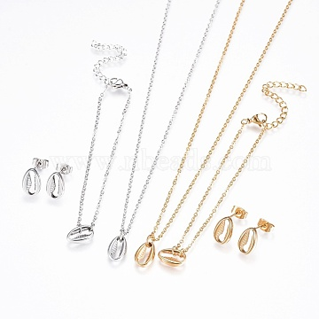 304 Stainless Steel Jewelry Sets, Bracelets, Necklaces and Earrings, Cowrie Shell, Golden & Stainless Steel Color, 17.9 inches(45.5cm); 1mm; 6-3/4 inches(17cm); 1mm; 11.5x8x3mm; Pin: 0.9mm(SJEW-F204-18)