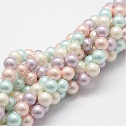 """Chapelets de perles en coquille, Grade a, rond, couleur mixte, 8mm, trou: 1mm; environ 54 pcs/chapelet, 16""""(BSHE-L017-10)"""