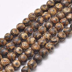 Tibetan Style 3-Eye dZi Beads Strands, Natural & Dyed Agate Beads, Round, SaddleBrown, 8mm, Hole: 1mm; about 48pcs/strand, 16''(G-P229-A-03-8mm)