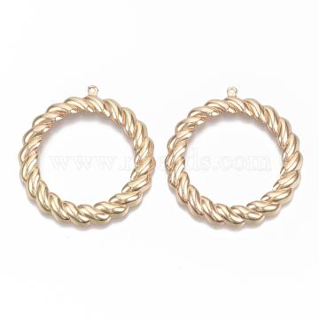 Environmental Iron Pendants, Twisted Ring, Cadmium Free & Nickel Free & Lead Free, Light Gold, 44x41x4mm, Hole: 1.2mm(X-IFIN-T015-003G-NR)