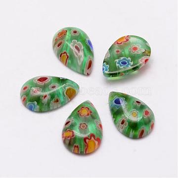 Handmade Millefiori Glass Cabochons, Teardrop, LimeGreen, 15x10x4mm(LAMP-G124-01)