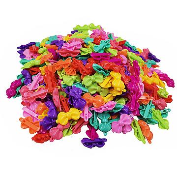 enfants accessoires pour cheveux, pinces à cheveux en plastique, bowknot, couleur mélangée, 43x21.5 mm(OHAR-S197-069C)