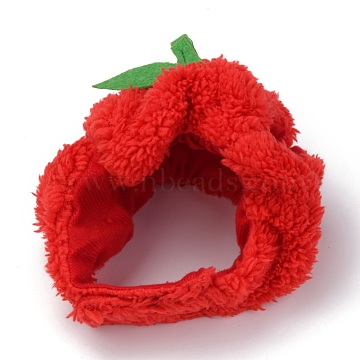 Cloth Pet Headwear Costume, with Hook and Loop Tapes, for Cats Dogs Festival Birthday Theme Party Photo Prop, Apple, Red, 140x160x25mm; Inner Diameter: 95~110mm(AJEW-F049-09)