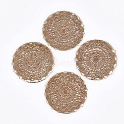Поликоттон (полиэстер хлопок) тканые подвесные украшения, с медными выводами, плоские круглые с цветком, светлое золото, верблюд, 50x1 mm(FIND-Q078-14C)