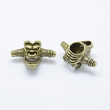 Brass Beads, Long-Lasting Plated, Cadmium Free & Nickel Free & Lead Free, Devil, Antique Bronze, 16x29x21mm, Hole: 6mm(KK-P130-044AB-NR)
