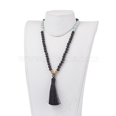 Natural Lava Rock and Amazonite Beaded Necklaces(NJEW-JN02027-02)-4