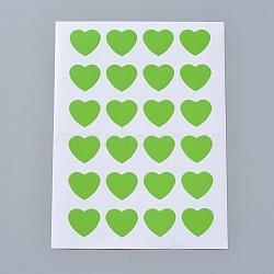 Autocollants en papier kraft, étiquettes autocollantes jet d'encre, cœur, verte, 120x88mm; coeur: 14x16mm; environ 24pcs / feuille, 12TIRAGES / sac(AJEW-WH0077-01G)
