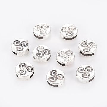 Tibetan Style Slide Charms, Cadmium Free & Lead Free, Flat Round, Antique Silver, 12x5mm, Hole: 10x2mm(X-TIBE-Q001-AS-LF)