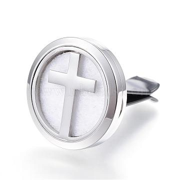316 Surgical Stainless Steel Car Diffuser Locket Clips, with Perfume Pad and Magnetic Clasps, Flat Round with Cross, White, 30x7mm(STAS-H336-03A)