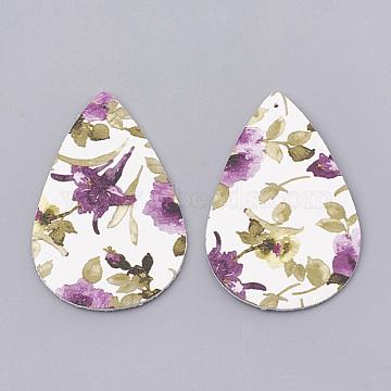 Imitation Leather Big Pendants, Teardrop with Flower, Medium Orchid, 55.5x36x1.5mm, Hole: 1mm(X-FIND-N001-29B)