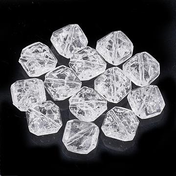 Transparent Crackle Acrylic Beads, Rhombus, Clear, 13.5x13.5x6mm, Hole: 1mm(X-CACR-T001-03)