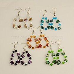 boucles d'oreilles coquille mode, avec des perles de verre et des crochets de boucles d'oreilles en laiton, couleur mélangée, 68 mm(EJEW-JE00686)